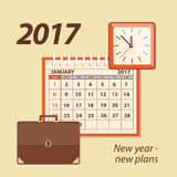2017 new year-new plans. Flat  modern design concept of business strategy, planning. Page of calendar january 2017,  briefcase  and wall clock. EPS 10 Stock Photography