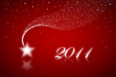 New Year - New Star on red. Happy new year 2011 Greeting Cards on red background Royalty Free Stock Photo