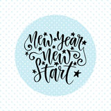 New Year new start. Inspirational and motivational handwritten quote. Vector calligraphy greeting card. Stock Images