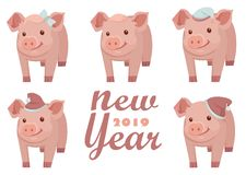 New Year 2019. New Year card design with five pigs, vector textile fabric print. Vector illustration EPS 10 file royalty free illustration