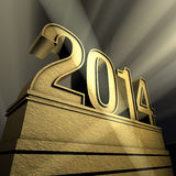 New year New Year's day 2014 pedestal. Pedestal with number in spotlight Stock Images