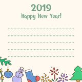 2019 New Year. Template for congratulations. Greeting card for wishes. Vector illustration Stock Image
