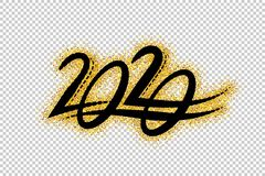 2020 New Year. Text golden with bright sparkles on transparent background royalty free illustration
