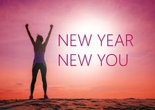 Free New Year New You Text Quote On The Image Of Womans Silhouette At Sunrise Stock Image - 133346321
