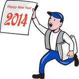 New Year 2014 Newspaper Boy Showing Sign Cartoon. Illustration of a newspaper boy wearing cap selling, shouting and showing a paper sign with words Happy New Stock Photography