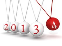 New year 2014 Newton cradle balls. 3d Stock Images