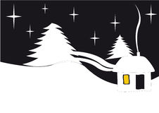 New-year night. Stars, fir-trees and house. Blackly - white image Stock Images