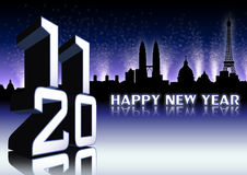 The new year with night background. 2011 3D number with Rome, Paris skyline on blue  background and fireworks Stock Images
