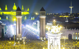 New Year night at  Placa Espana in Barcelona Royalty Free Stock Image