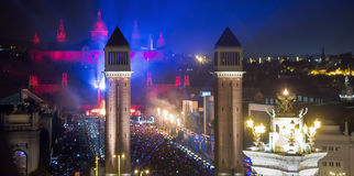 New Year night at  Placa Espana in Barcelona Royalty Free Stock Photography