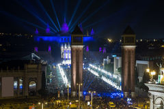 New Year night at Placa Espana in Barcelona. Picturesque Placa Espana at New Year night with city lights in Barcelona stock image