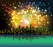 New year 2016 night silhouette fireworks colourful. Happy new year 2016 with firework city at night vector illustration
