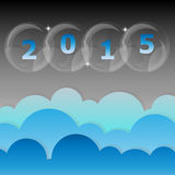 New year 2015 night star and cloud sky background Stock Images