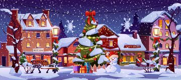 New Year night street, Christmas city landscape. Christmas landscape at night, street decorations, decorated houses, Xmas tree, snowman and lanterns, snowflakes