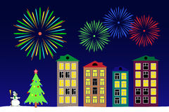 New year night in the town. Vector illustration the new year night in the town stock illustration