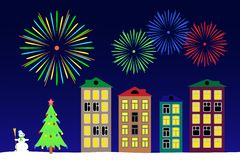 New year night in the town. Vector illustration the new year night in the town royalty free illustration