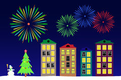 New year night in the town. Stock Photo