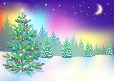 New Year northern lights. Christmas tree in the woods, New Year's Eve, Northern lights Royalty Free Stock Image
