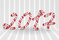 New Year 2017 number as striped holiday candies Royalty Free Stock Images