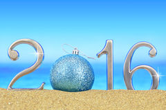 New year number 2016. On the beach Stock Photo
