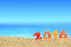 New year number 2016. On the beach Royalty Free Stock Photos