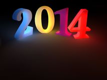New Year 2014. 2014 year number coloured and isolated on a black background with a soft internal light effect Royalty Free Stock Photo