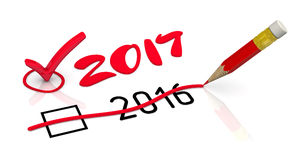 2017 New Year. The number 2016 is corrected for 2017 using the red pencil. The concept of changing the year. . 3D Illustration Stock Image