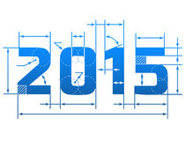 New Year 2015 number with dimension lines. Element of blueprint drawing in shape of 2015 year. Qualitative vector (EPS-10) design element for new year's day Royalty Free Stock Photos
