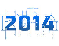New Year 2014 number with dimension lines. Element of blueprint drawing in shape of 2014 year. Qualitative vector (EPS-10) design element for new years day Stock Photos