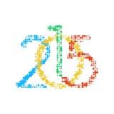 New Year 2015 number. Flat circle logo design element of new year 2015. Vector illustration isolated on white background EPS10 royalty free illustration
