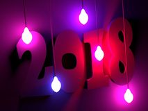 2018 year number. 2018 new year number illuminated by electric bulbs. 3D rendering Royalty Free Stock Images