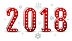 2018 new year number neon silhouette Stock Images