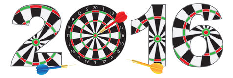 2016 New Year Number Outline Dartboard. 2016 Happy New Year Dartboard with Darts on Target Bullseye Numerals Outline Vector Illustration  on White Background Royalty Free Stock Photo