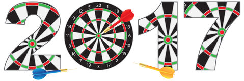 2017 New Year Number Outline Dartboard Vector Stock Photo