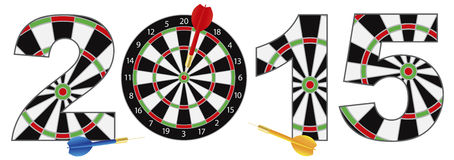 2015 New Year Number Outline Dartboard Vector Illustration. 2015 Happy New Year Dartboard with Darts on Target Bullseye Vector Illustration Isolated on White vector illustration
