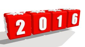 New 2016 year number. 2016 new year number on red boxes. Cubes with snowflake relief icon Stock Photo