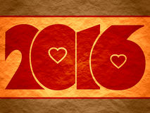 New 2016 year number. Red 2016 new year number. Crumpled paper textured background. Red heats icons within numbers Stock Photos