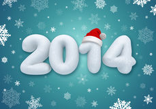 New year number text, 3d snow Stock Photo