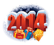 New Year 2014. Number on winter background with snowflakes and gifts Stock Photo