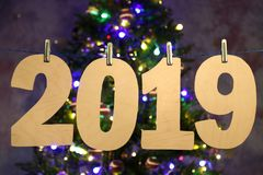 New year 2019. Number of year made of plywood.  royalty free stock photography