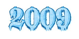 New-year numbers. Of ice on a white background vector illustration
