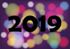 2019 new year numbers abstract color happy new year.  stock illustration