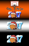 New Year numbers 2017 and basketball. Snowy New Year numbers 2017 and basketball in a Christmas hat with basketball boots on the background of the basket. Vector Royalty Free Stock Photo