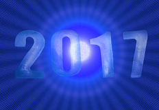 New Year 2017 numbers with blues shiny background Stock Photo