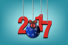 New Year numbers 2017 and Christmas ball. From bow on strings. Vector illustration Royalty Free Stock Photography