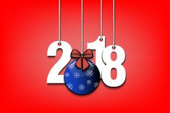 New Year numbers 2018 and Christmas ball. From bow on strings. Vector illustration Royalty Free Stock Photo