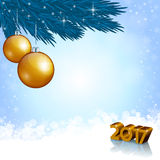 New 2017 Year numbers and Christmas decoration Stock Image