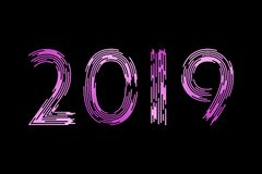 New Year, numbers 2019. Fashionable brush. In the trend. Violet gradient on a black background. 10 eps royalty free illustration