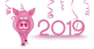 2019 new year numbers, serpentine and cut pig. Vector illustration stock illustration