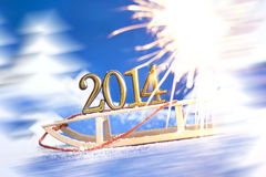 2014 new year numbers on sled Stock Photography